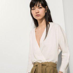 NEW Massimo Dutti White Cotton Shirting Wrap Top